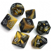 Black & Gold Gemini Polyhedral 7 Dice Set
